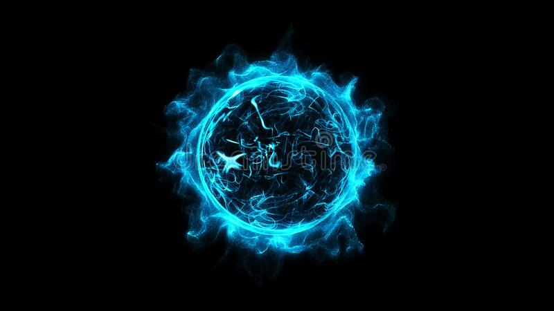 Blue circular shinning glowing light ring sparkle powerful effect dust explosion. stock illustration