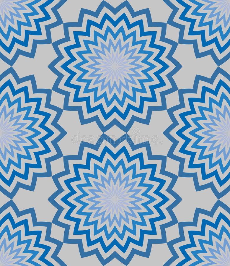 Blue circular zigzag lines flowers with a beautiful patterned striped petals pattern. Seamless floral vector background royalty free illustration