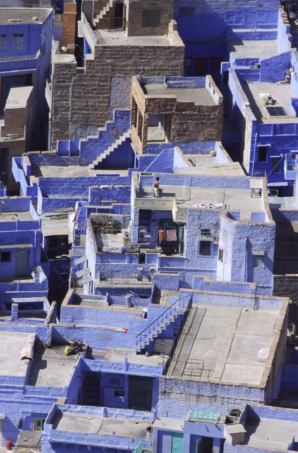 Download Blue City stock image. Image of above, houses, high, india - 78213