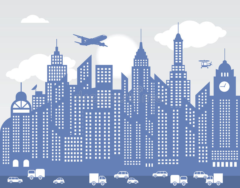 Blue city (Background) stock illustration