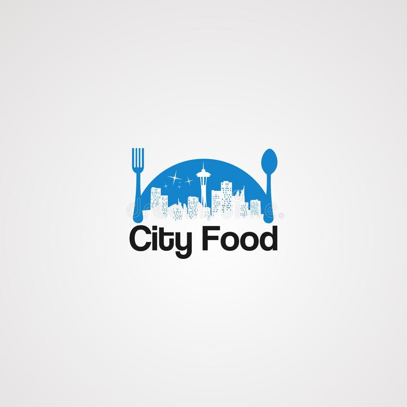 Blue city food logo vector, icon, element, and template for company. Blue city food logo vector, icon, element, and template for business royalty free illustration