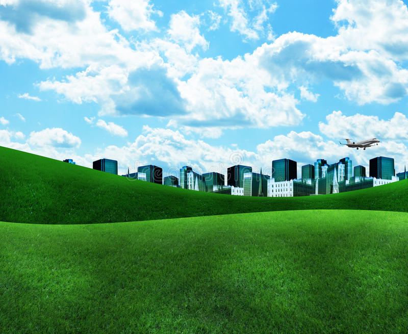 Download Blue City With Green Grass And Clouds Stock Illustration - Illustration: 19174861