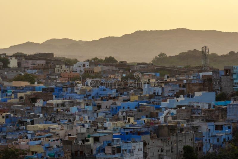 Blue City of Jodhpur in India. At sunset stock photo