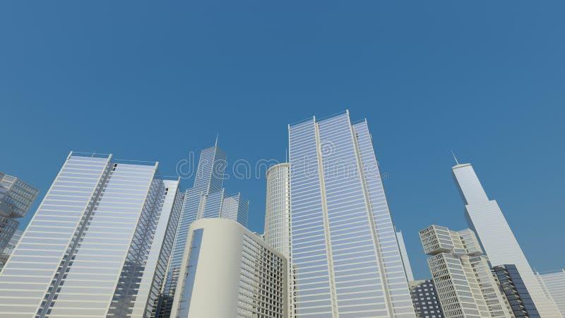 Blue city line, skyline royalty free stock image