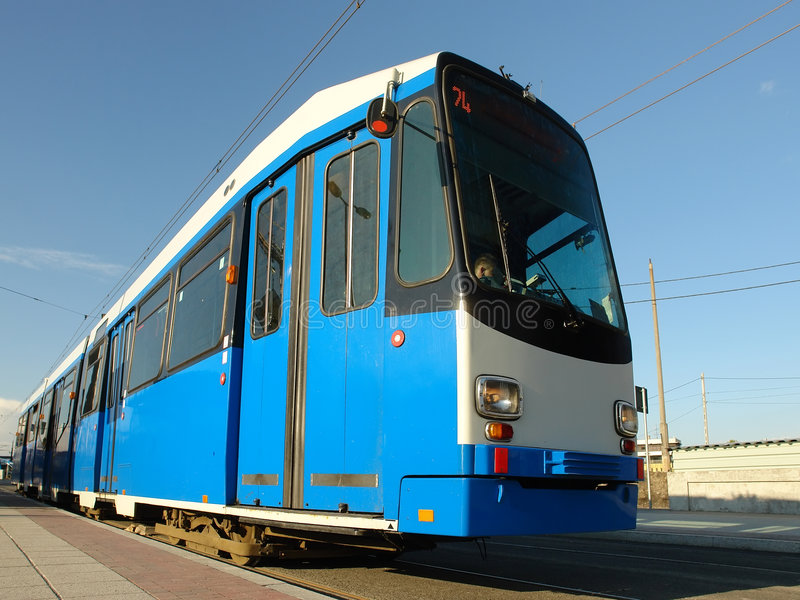 Download Blue city tram stock photo. Image of rails, outdoors, town - 2279028