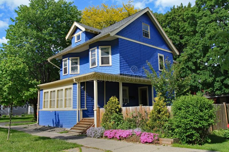 Blue clapboard house. With dormer window stock photography