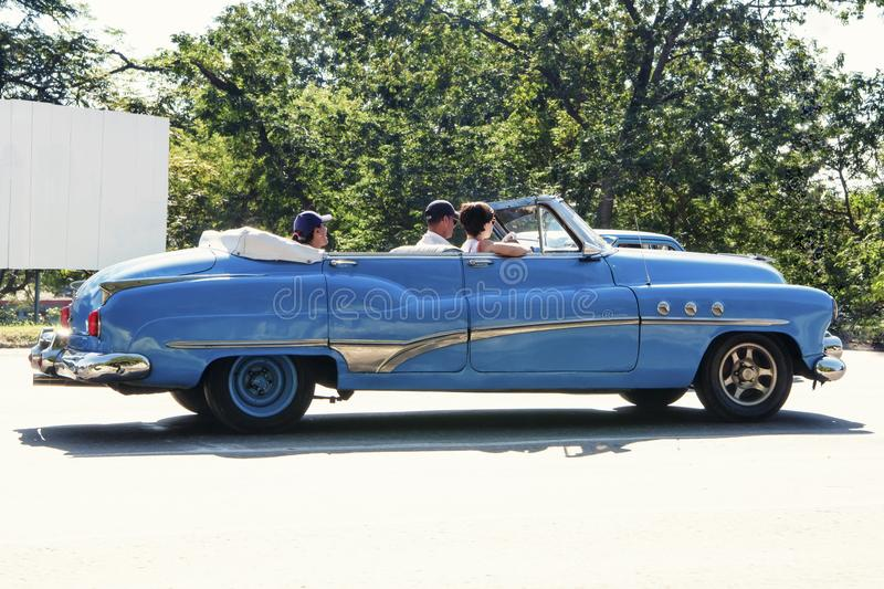 Blue classic american convertible Chevrolet Bel Air, Cuba royalty free stock images