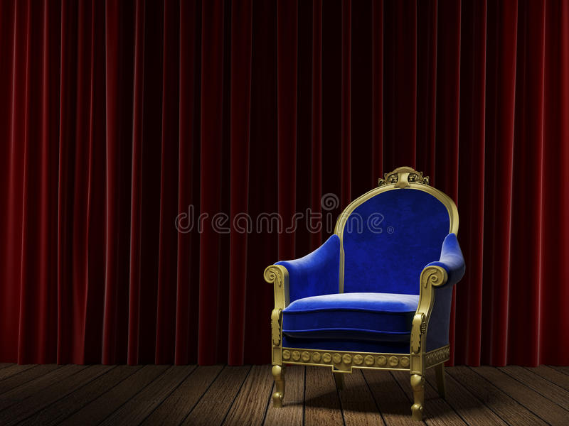 Blue classic armchair on red. Golden and blue armchair on a stage with a red velvet theatre curtain as background royalty free illustration