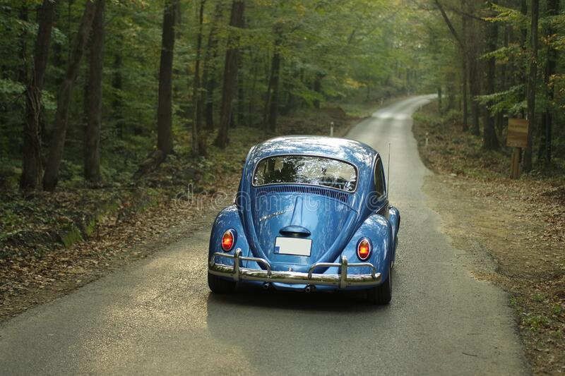Blue Classic Volkswagen Beetle royalty free stock image