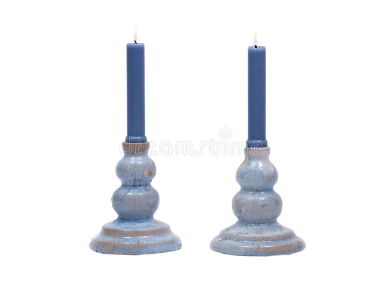 Download Blue Clay Ceramic Candle Holder And Blue Candle Stock Photo - Image: 83720746