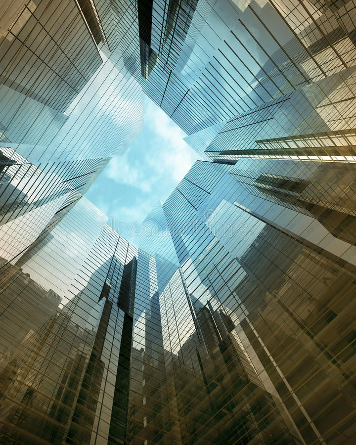 Blue clean glass wall of modern skyscraper. Modern glass skyscraper perspective view stock images