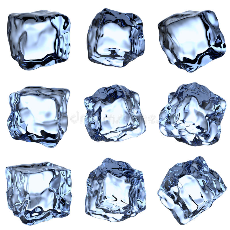 Blue clear ice cubes collection vector illustration