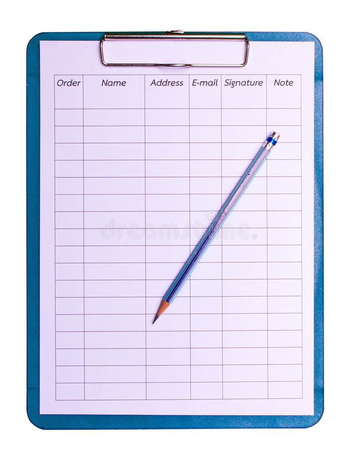 Blue clipboard with blank white sheet attached royalty free stock photos