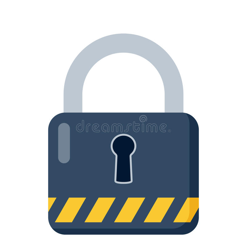 Closed Blue Padlock Flat Icon on White stock illustration