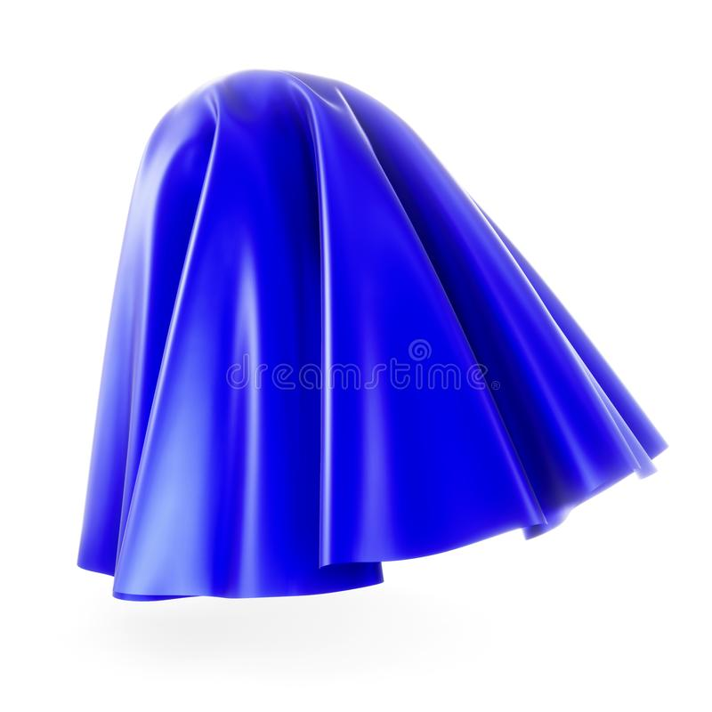 Blue cloth cover sphere. 3d rendering on white background. Silk, satin fabric with pleats vector illustration