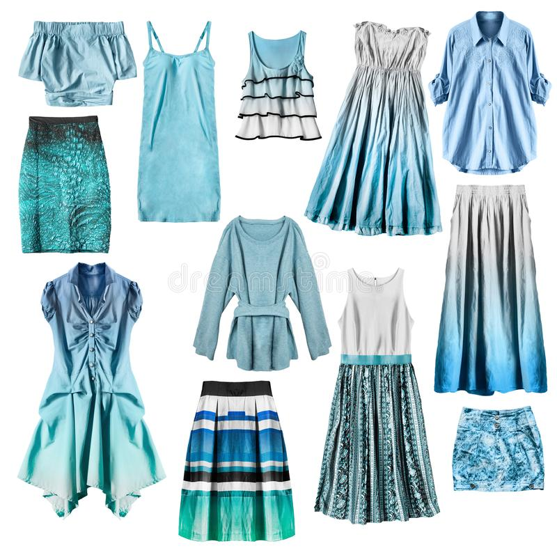 Blue clothes isolated royalty free stock images