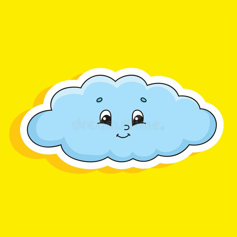 Blue cloud. Cute character. Colorful vector illustration. Cartoon style. Isolated on color background. Design element. Template. Cute character. Colorful vector stock illustration