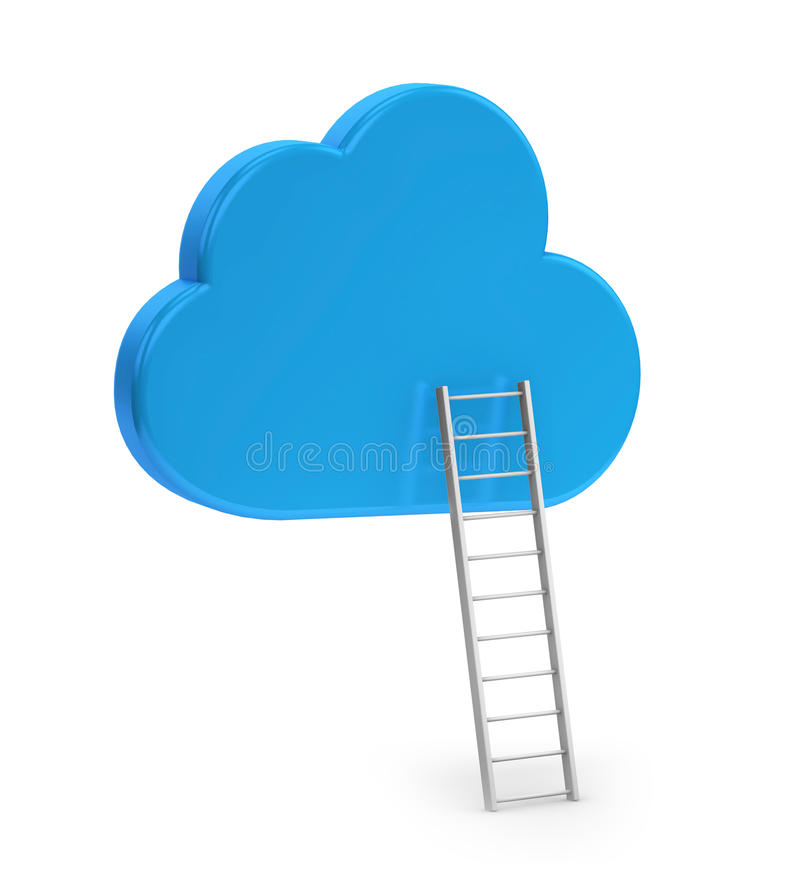 Blue cloud and ladder. On white background vector illustration