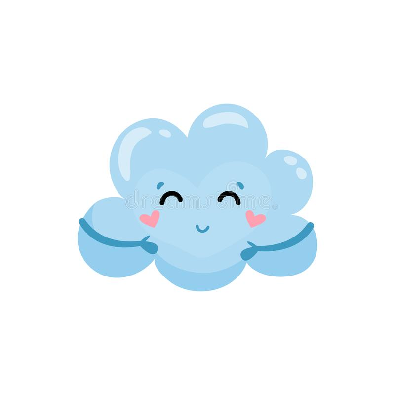 Blue cloud with little hands, charming face and hearts on cheeks. Cartoon weather character. Flat vector element for stock illustration