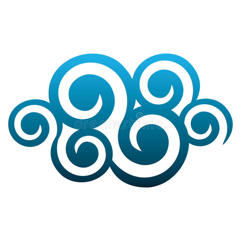 blue cloud spirals and swirls shape stock illustration