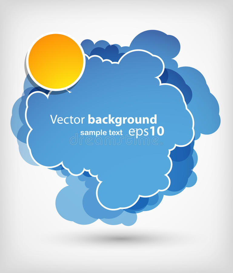 Download Blue cloud with sun stock vector. Image of repeat, light - 19156363
