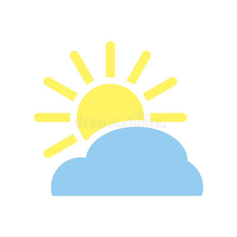 Blue Cloud with  yellow sun and rays, weather. stock illustration