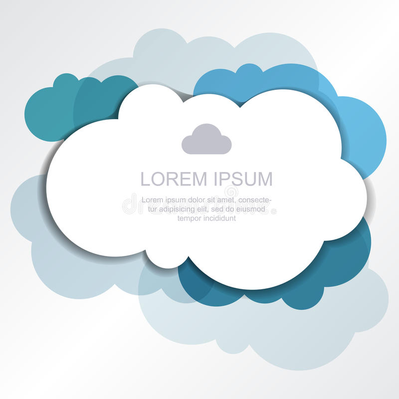 Blue clouds background. Vector illustration, modern template design with place for text royalty free illustration