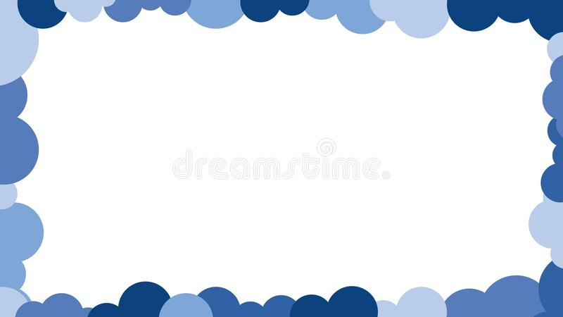 Blue Circles And Clouds Border Design Picture Frame Outline Vector