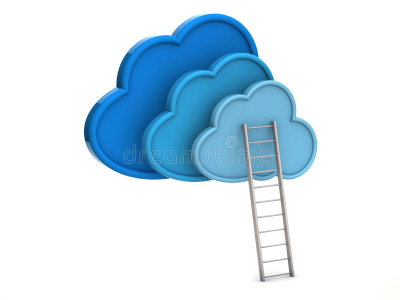 Blue clouds and ladder. Isolated on white background stock illustration