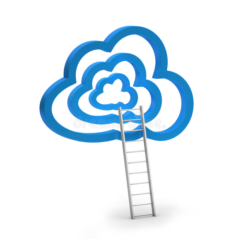 Blue clouds and ladder. On white background vector illustration