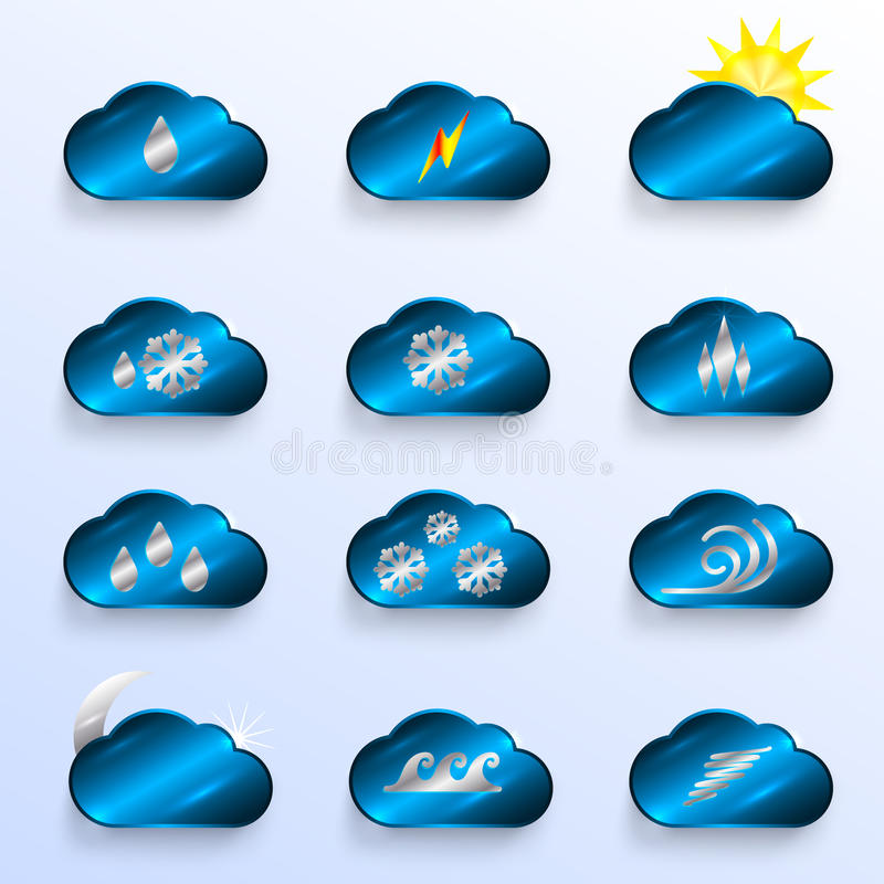 Download Blue Clouds With Weather Signs Stock Vector - Illustration of metal, texture: 34817752