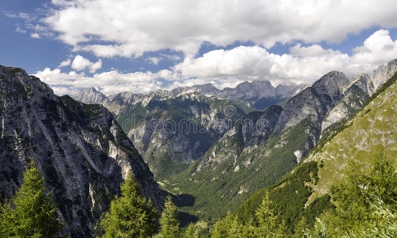Download Blue And Cloudy Sky Above Slovenian Alps Stock Image - Image of blue, clouds: 21823321