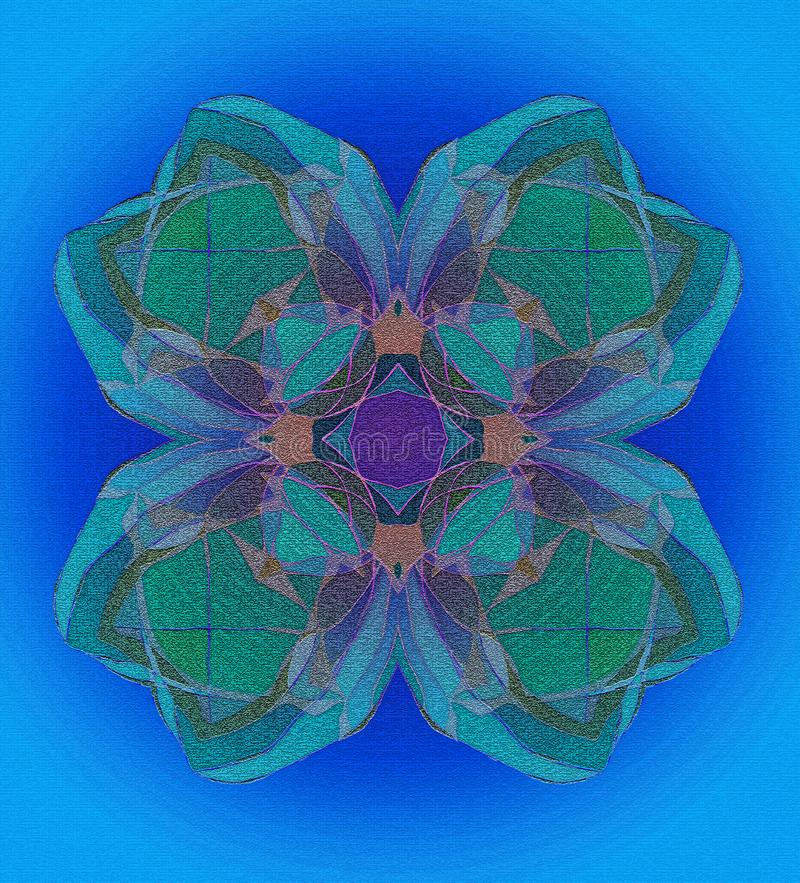 BLUE CLOVER TEXTURE MANDALA, IN BLUE AND GREEN, TURQUOISE BACKGROUND, TEXTURE IN ALL THE IMAGE vector illustration