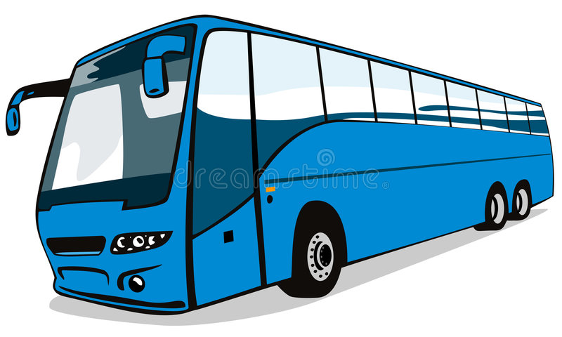 Blue coach bus. Vector art of a coach bus on white background vector illustration