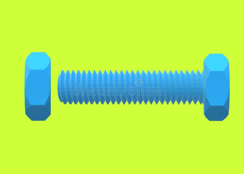 A blue coated Polytetrafluoroethylene PTFE is a synthetic fluoropolymer of tetrafluoroethylene bolt and nut. A computer generated illustration image of a blue royalty free illustration