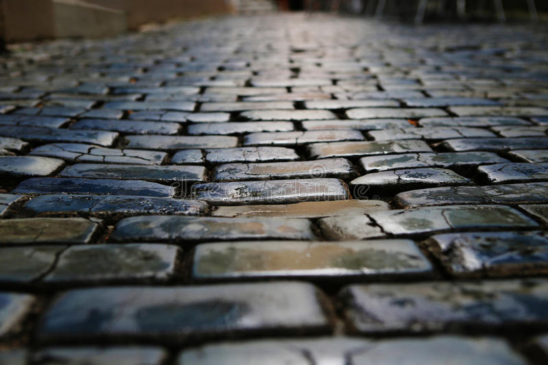 Blue cobblestone street royalty free stock photo