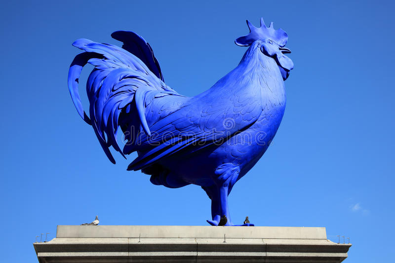 Blue Cockerel, Trafalgar Square. London, United Kingdom, April 13, 2014: Recently unveiled by Mayor Boris Johnson the latest artwork to stand on Trafalgar Square royalty free stock photography