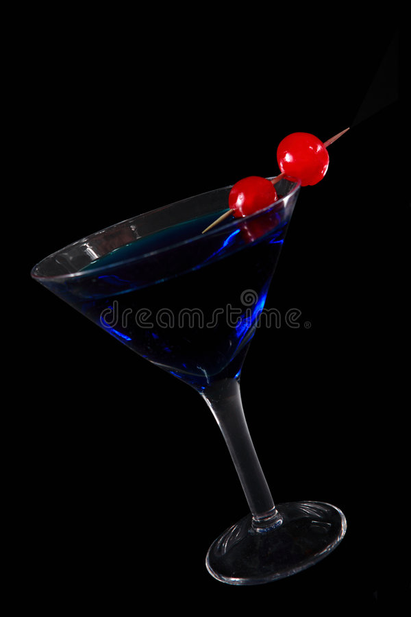 Blue cocktail on black royalty free stock photos
