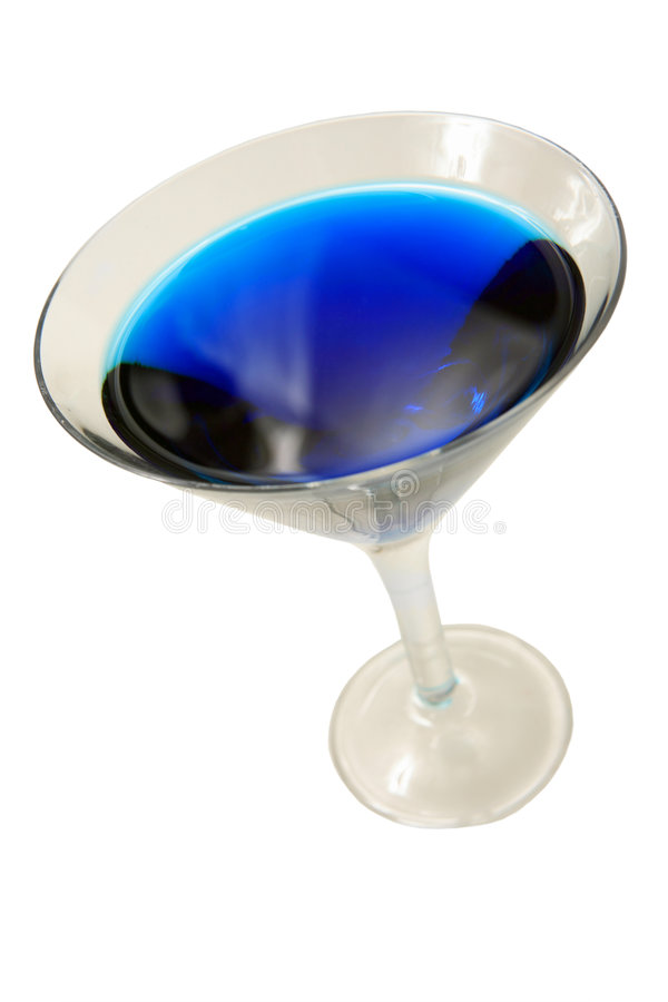 Blue cocktail glass on white royalty free stock image