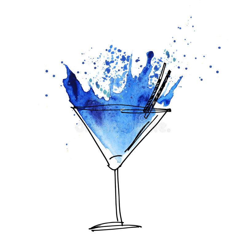 Blue cocktail splash watercolor illustration stock for Paint and cocktails