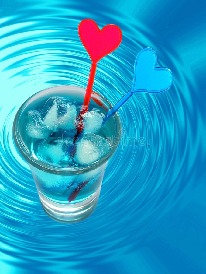 Blue Cocktail and water