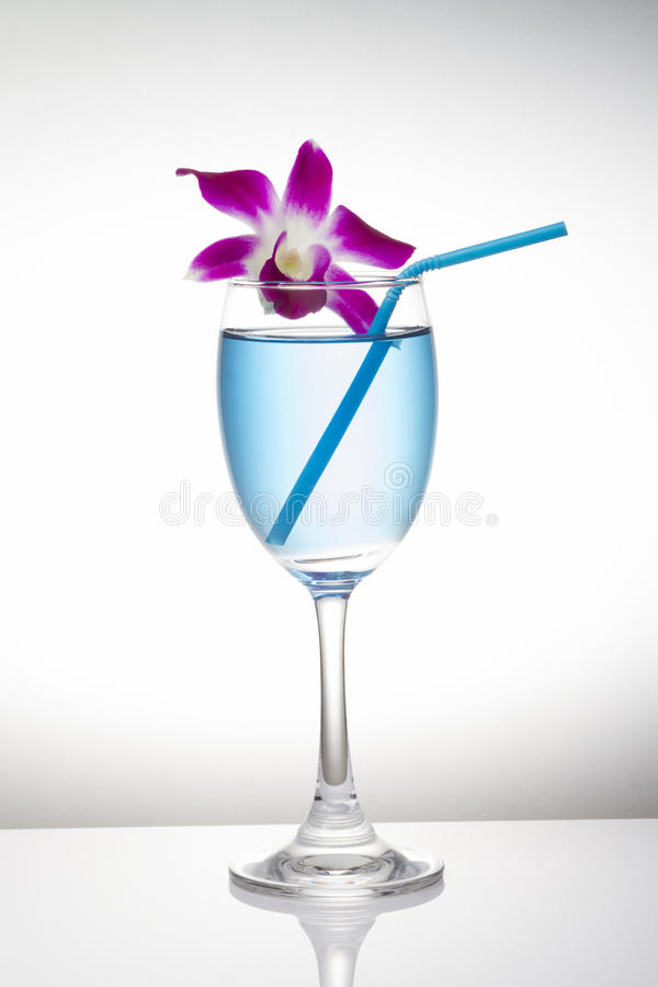Blue cocktail in wine glass and orchid flower on white background stock photography