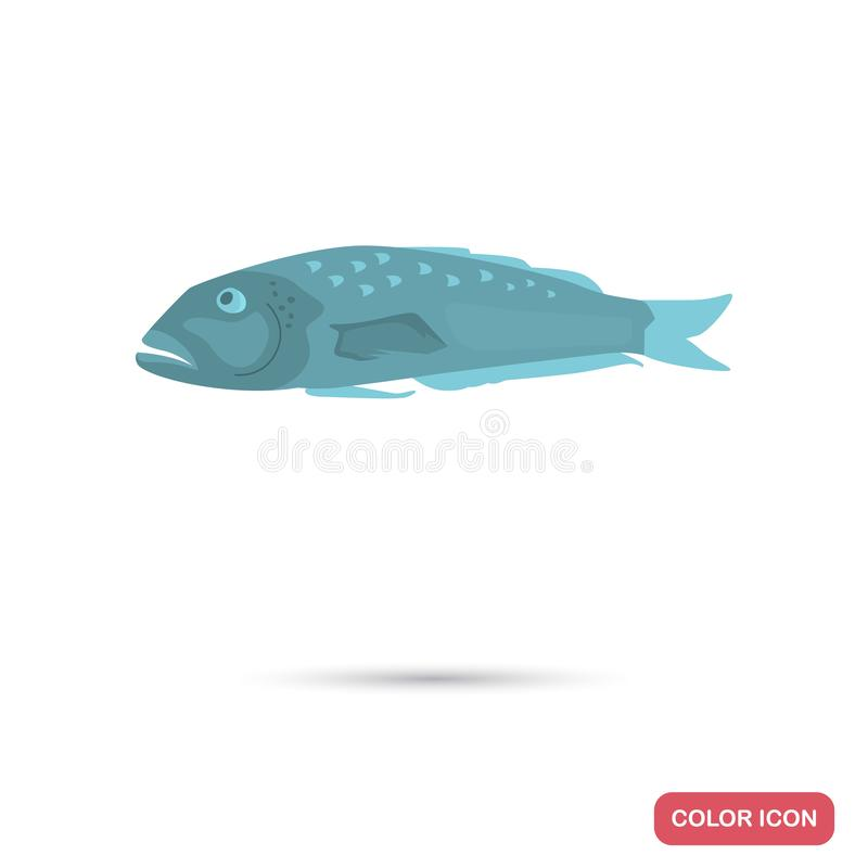 Blue cod fish color flat icon for web and mobile design. Blue cod fish color flat icon for web and mobile stock illustration