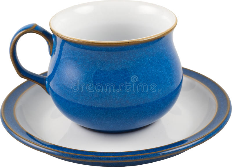 Blue coffee cup. Isolated with saucer stock photography
