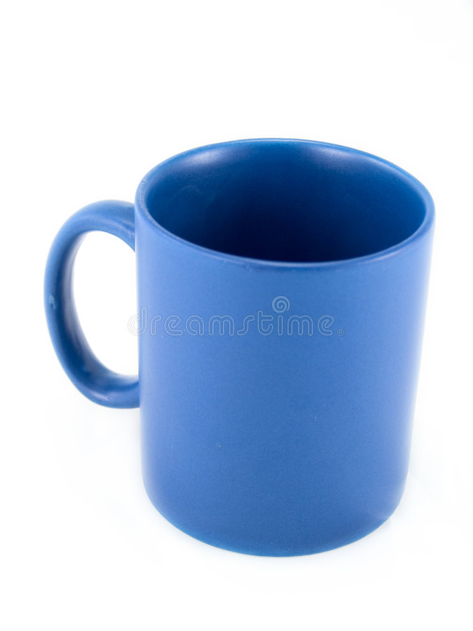 Blue coffee cup 2. Isolated blue coffee cup, focus is on the rear of the rim with shallow depth of field stock photo