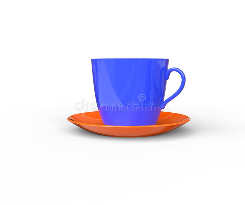 Blue Coffee Cup with Orange Saucer. Isolated on white background royalty free stock photography
