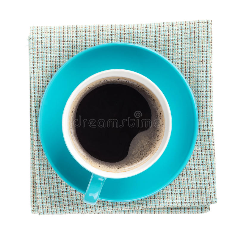 Free Blue Coffee Cup Over Kitchen Towel Stock Image - 34140231