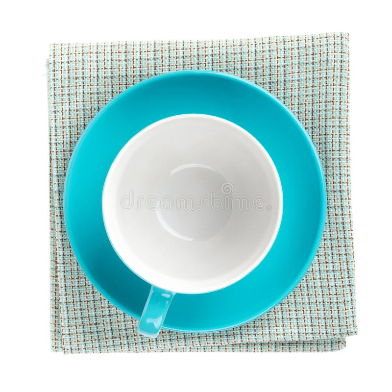 Free Blue Coffee Cup Over Kitchen Towel Royalty Free Stock Photos - 39748838