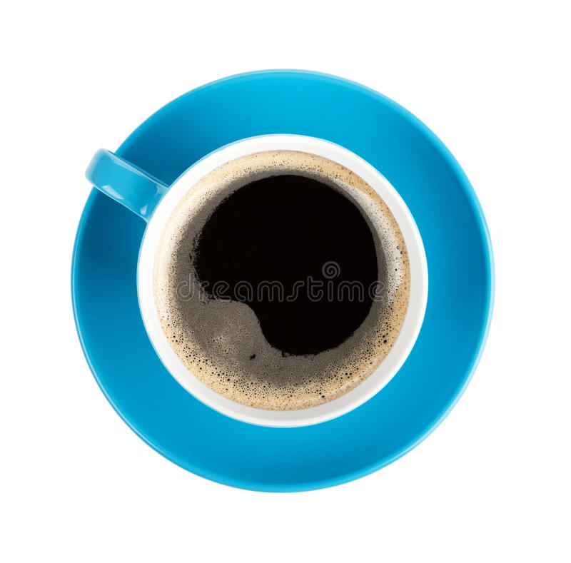 Blue coffee cup. View from above. Isolated on white background stock photos
