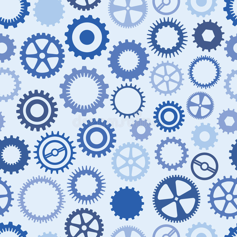 Blue Cog Background. Seamless, Repeating Blue Cog Background stock illustration